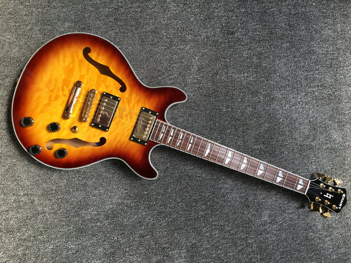 Free Shipping 2018 New ES-339 Small Jazz Electric Guitar es 339 semi yollow body In Sunburst ES339 Top Quality free shipping semi hollow body aaaaa quilted maple top gold hardware jazz es 335 345 electric guitar guitarra all color accept