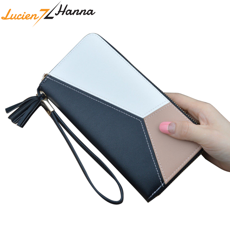 Fringed Long Women's Wallets Soft PU Leather Female Clutch Wristband Patchwork Coin Purse Ladies ID Card Holders Carteras Mujer carteras mujer women wallet fashion leather wallets long clutch wallet coin purse bags card id holders sacoche homme