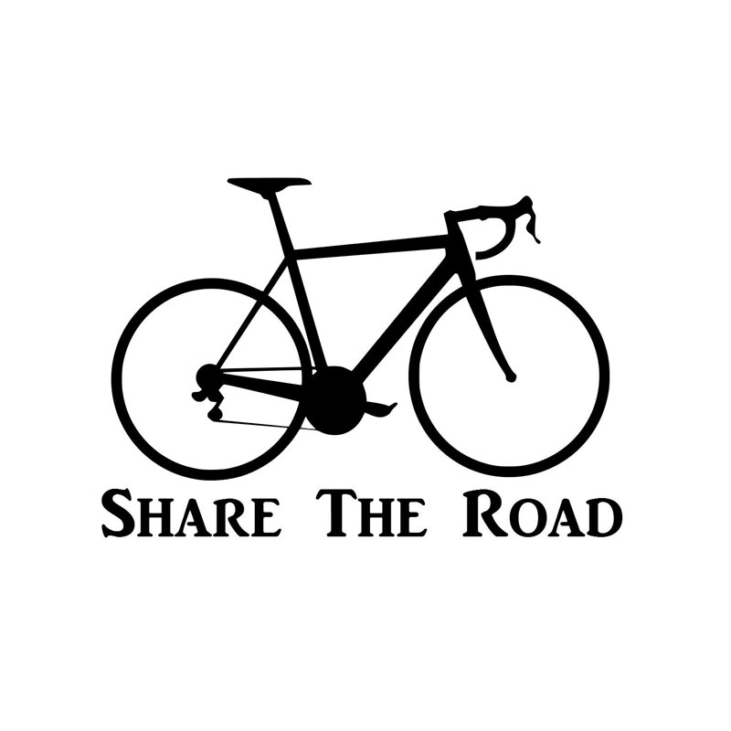 17.8CM*12.2CM Bicycle Sticker Life On 2 Wheels Bike Share The Road Car Styling Funny Car Sticker Decoration Black/Sliver C8-1377