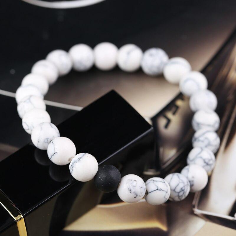 Qiyige пары расстояние браслет классический Натуральный камень любителей подарки Ювелирные изделия Инь Ян Braclets ювелирные изделия