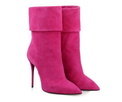 Pink pointed toe high heel ankle boots for ladies Fashion super high thin heel short boots for women Solid dress shoes classic red blue solid pointed toe high heel ankle boots for ladies fashion super high thin heel shoer boots women dress shoes