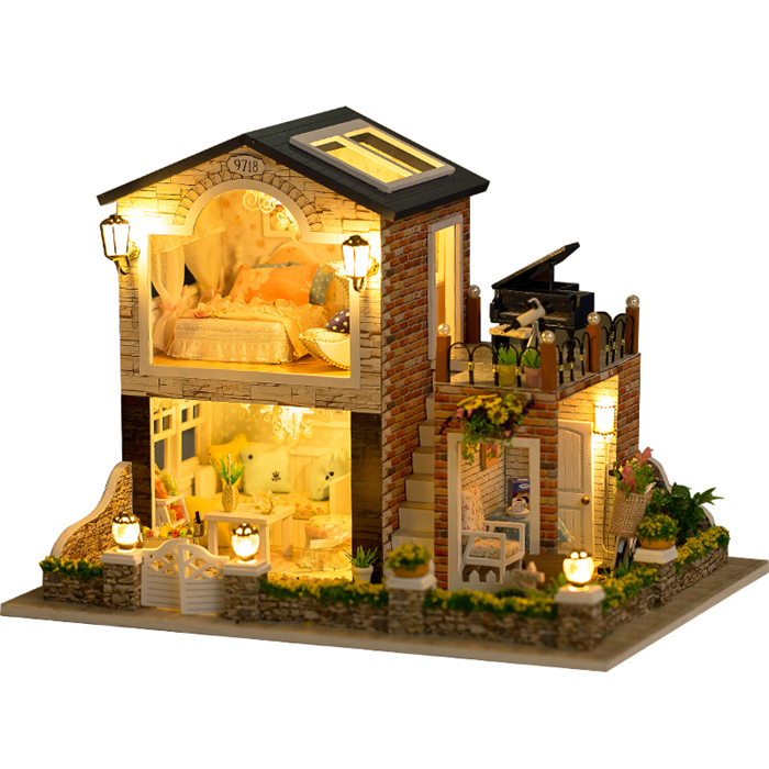 Miniature European Cake Shop Craft Model Wood Dollhouse Furniture ...