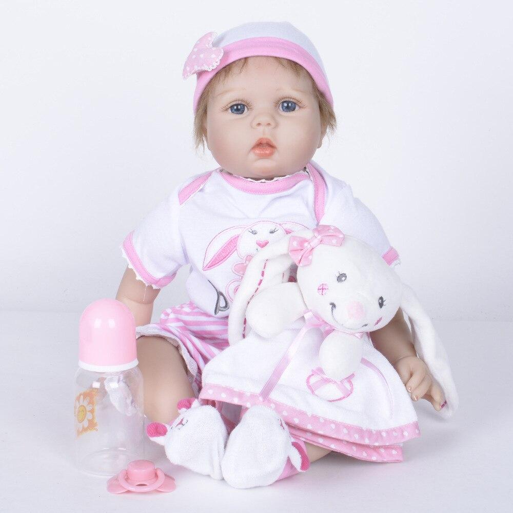 55cm Cute Reborn Girl Doll Soft Silicone Newborn Baby Toy with Cloth Body for Children Birthday Xmas Gift цены