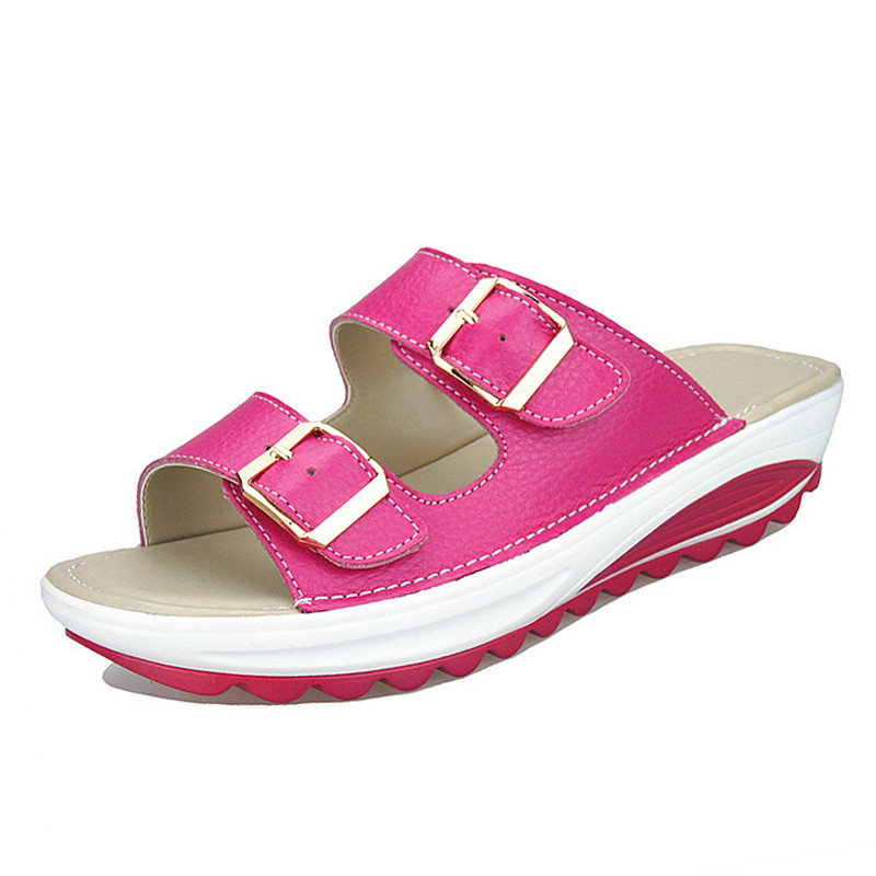 Image 5 - BEYARNE  Womens Sandals Slippers Buckle Beach Summer Wedges Platform Shoes Casual Candy Color Slideswomen sandals slipperswomen sandalssummer wedges -