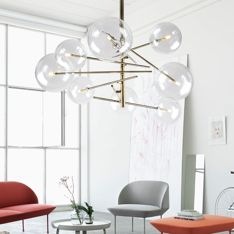 Modern pendant lights led gold AC90 261V luminaire suspendu globe