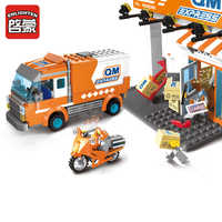 Enligthen 337Pcs Building Blocks City Express Delivery Truck Courier Station Fast Mail Courier Bricks LegoINGs Toys for Children