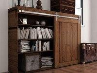 DIYHD Brushed Stainless Steel Mini Strap Cabinet Barn Door Hardware To Hang 1 Door No Cabinet