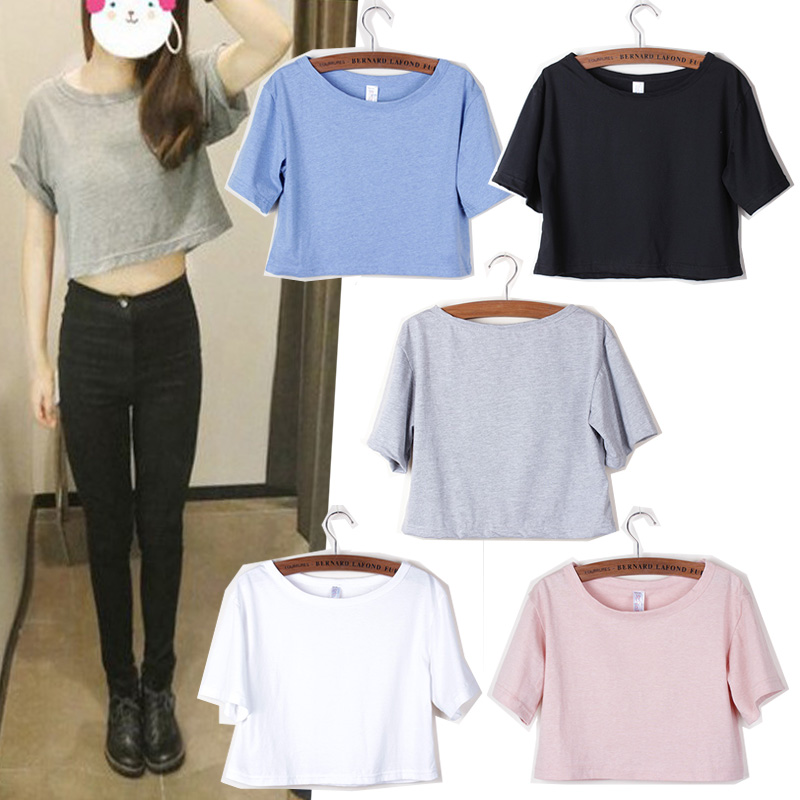 Women Summer Tees Cotton O Neck Short Sleeve T shirts Slim High Waist Women Tops White Gray Loose Crop Top Casual T Shirts Tops plain gray v neck t shirts