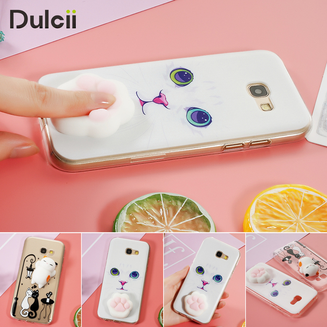 superior quality 3c502 833b6 US $6.89 |Dulcii Funny Phone cases Nail Pinch 3D Silicone Squishy Cat Paw  TPU Back Case for Samsung Galaxy A5 (2017) SM A520F squishy case-in Fitted  ...