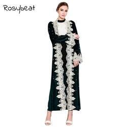 Мусульманское Для женщин свободные длинные платья 3XL 4XL кружева шить бисера золото бархат кардиган халат Повседневное Исламская Костюмы