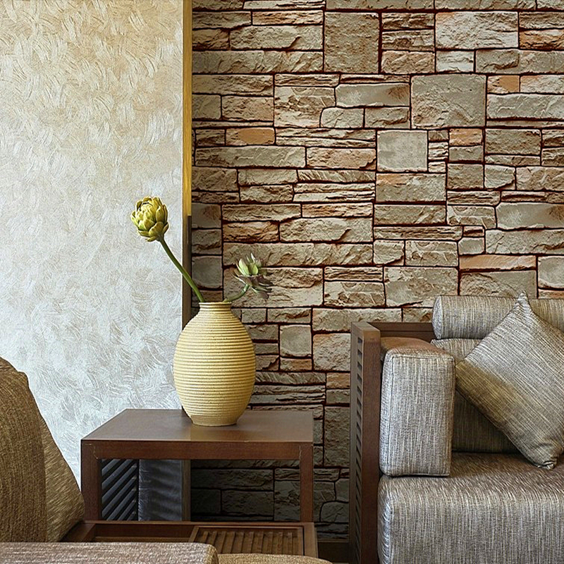 Free Shipping D Bricks Pattern Wallpaper Roll For TV Background - 3d brick wallpaper living room