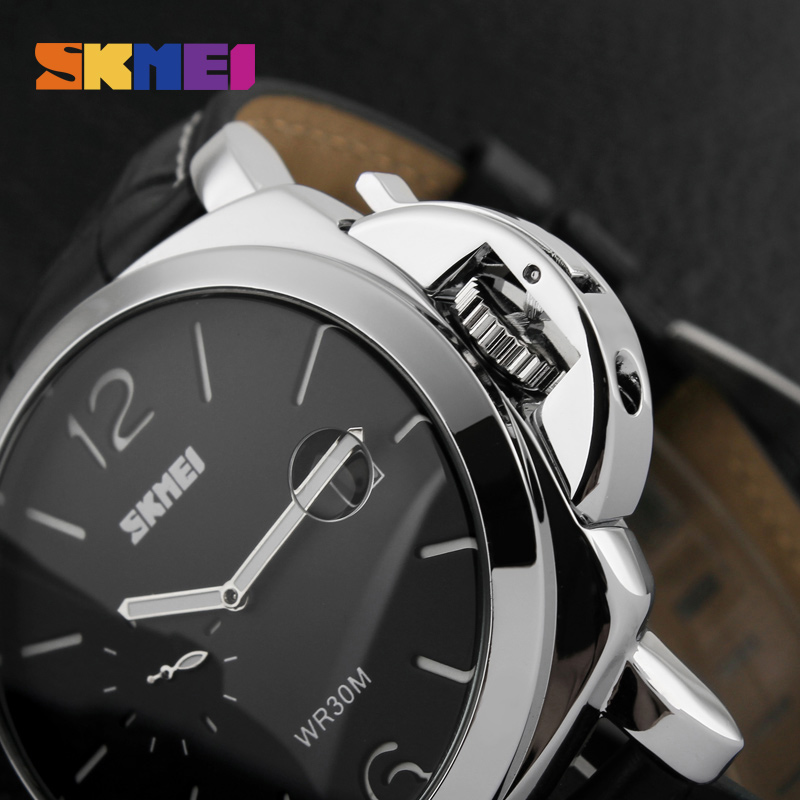 SKMEI Men Wristwatches Fashion Casual Big Dial Quartz Stainless Steel Luxury Watch Waterproof Male Sports Watches Clock oulm men dual movt big dial japan luxury military watches men stainless steel strap wristwatches male golden clock