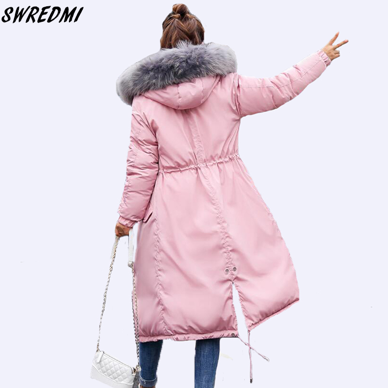 SWREDMI 2018 New Slim Casual Pink Winter Coat Women Fur Collar Hooded Thicken Warm   Parkas   Plus Size Down Cotton Jackets Girls