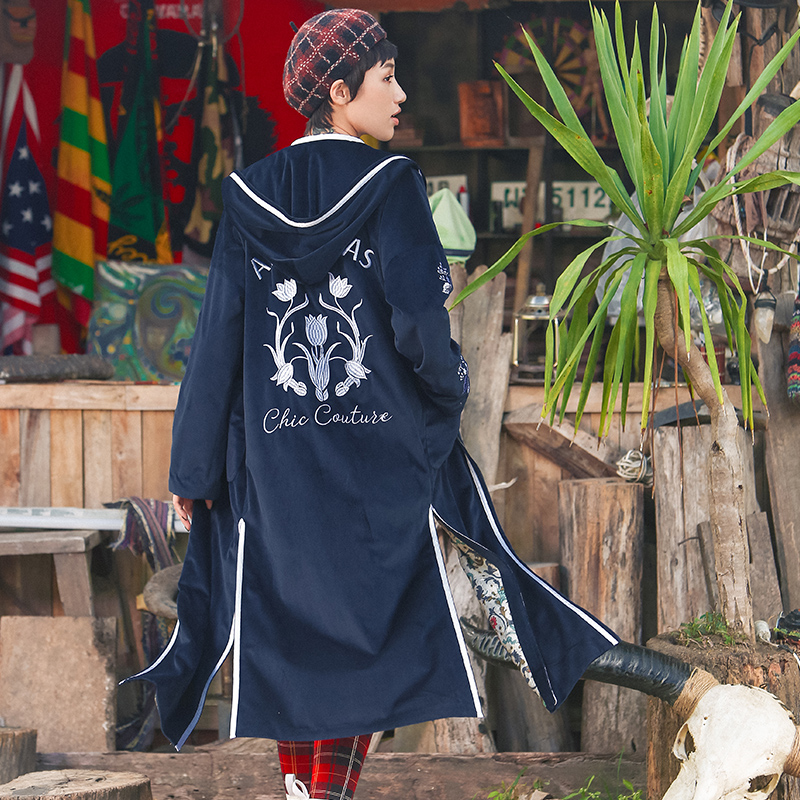 Trench-Coat Velvet Hooded Embroidery Loose Long Women Casual New Slit Hem Novelty Personality