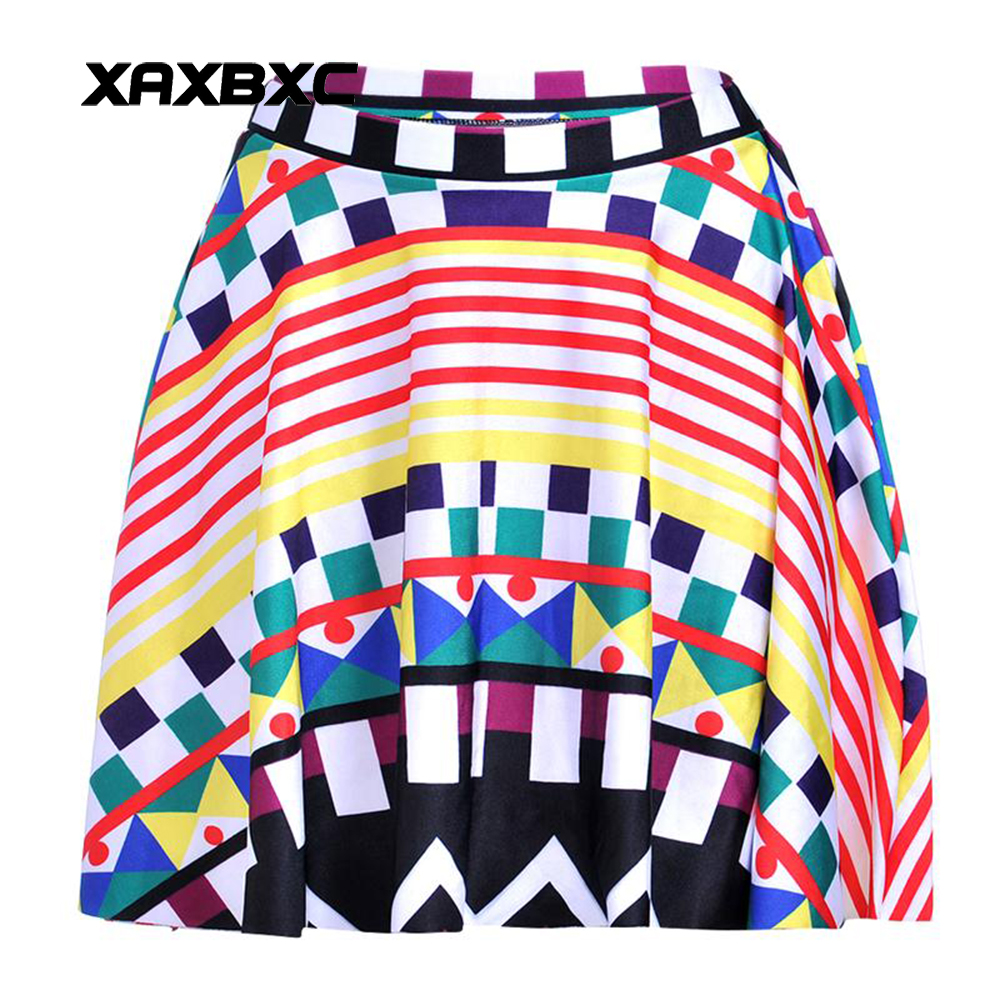 NEW 1201 Summer Sexy Girl Colorful Stripe Plaid geometry Printed Cheering Squad Tutu Skater Women Mini Pleated Skirt Plus Size