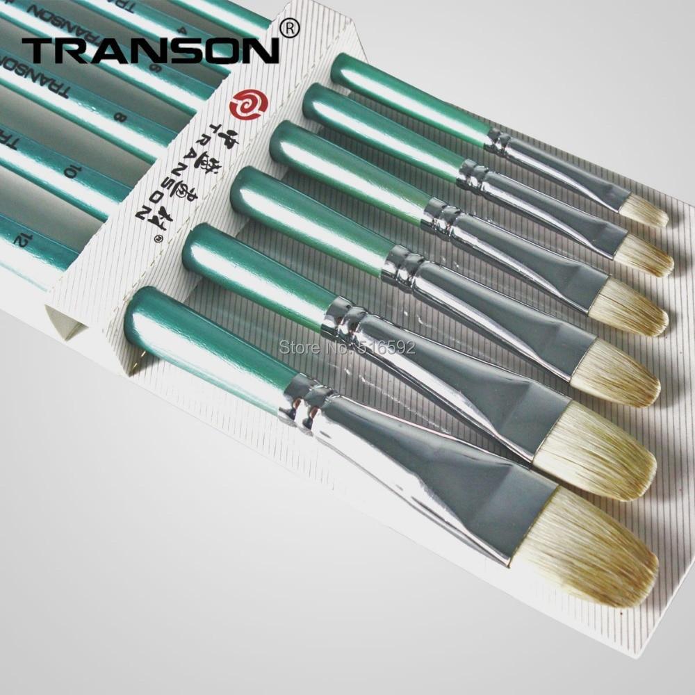 Painting Brush 6pcs Transon159 Filbert Head Long Sky Blue Handle Artist Brush Set Wool Hair Brushes