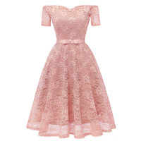 2018 Slash Neck Solid Soft Lace Dress Comfortable Elegant Classic Summer Dress Cheap Modern Sashes Loose Gown For Woman