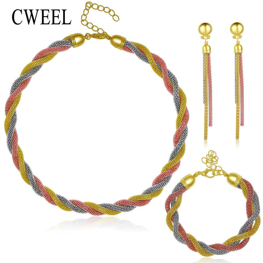 CWEEL ślub złoty kolor 3 kolorowy naszyjnik zestawy biżuterii Party kobiety koraliki afrykańskie bransoletka pierścionek dla nowożeńców kolczyki akcesoria