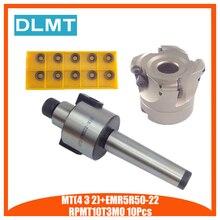MT2 FMB22 M10 MT3 FMB22 M12 MT4 FMB22 M16 Tige EMR5R 50 22 4 T De Fraisage De Visage CNC Cutter + 10 pièces RPMT10T3 Inserts Pour Outil Électrique