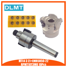 Mt2 fmb22 m10 mt3 fmb22 m12 mt4 fmb22 m16 haste emr5r 50 22 4 t rosto fresa cnc cortador + 10 peças rpmt10t3 inserções para ferramenta elétrica