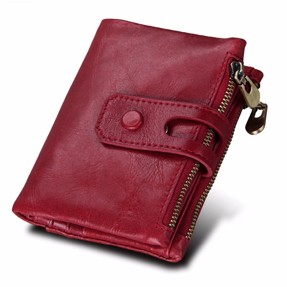 Unisex Genuine Leather Wallets Female Hasp Double Zipper Design Coin Purse ID Card Holder