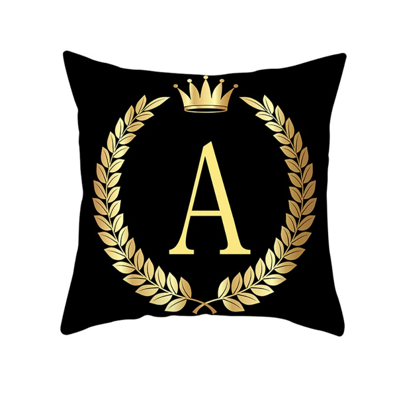 A To I Letters Black Square Crown Branch Pillow Case Soft Peach Velvet Decorative Pillowcase For Home Soft Pillow