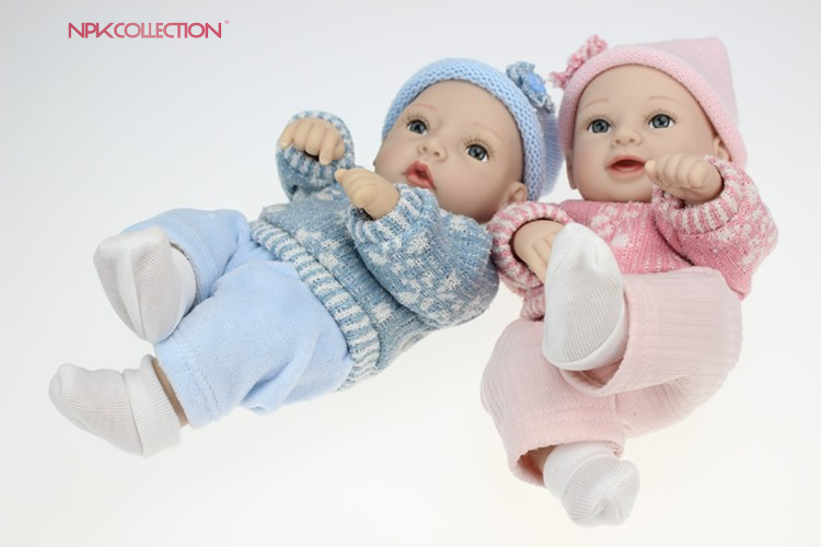 NPK Cute 12 InchMini Reborn Baby Doll 27 cm Full Silicone Vinyl Lifelike Bebe Reborn Menina For Kid Game Toy Can Bath