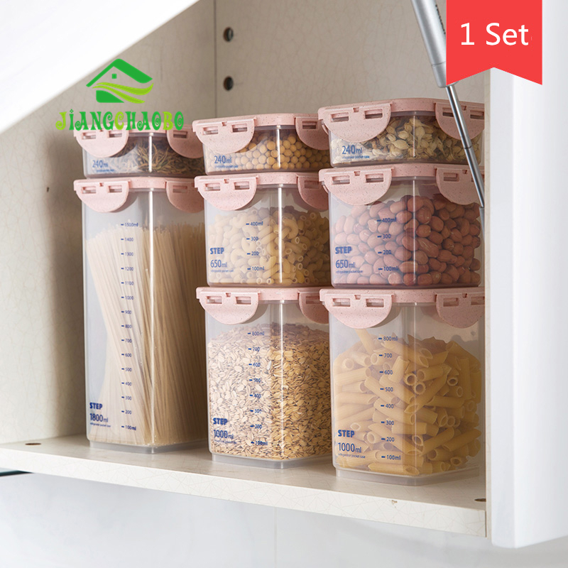 8 Pcs/Set JiangChaoBo Transparent Sealed Cans Food Storage Box Kitchen Plastic Grain Storage Tank8 Pcs/Set JiangChaoBo Transparent Sealed Cans Food Storage Box Kitchen Plastic Grain Storage Tank
