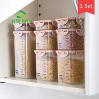 8 Pcs/Set JiangChaoBo Transparent Sealed Cans Food Storage Box Kitchen Plastic Grain Storage Tank