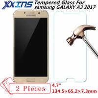 2 pièces verre trempé pour samsung GALAXY A3 2017 A3200 A320 téléphone écran de protection 4.7 pouces couverture cadeau gratuit cristaux étui