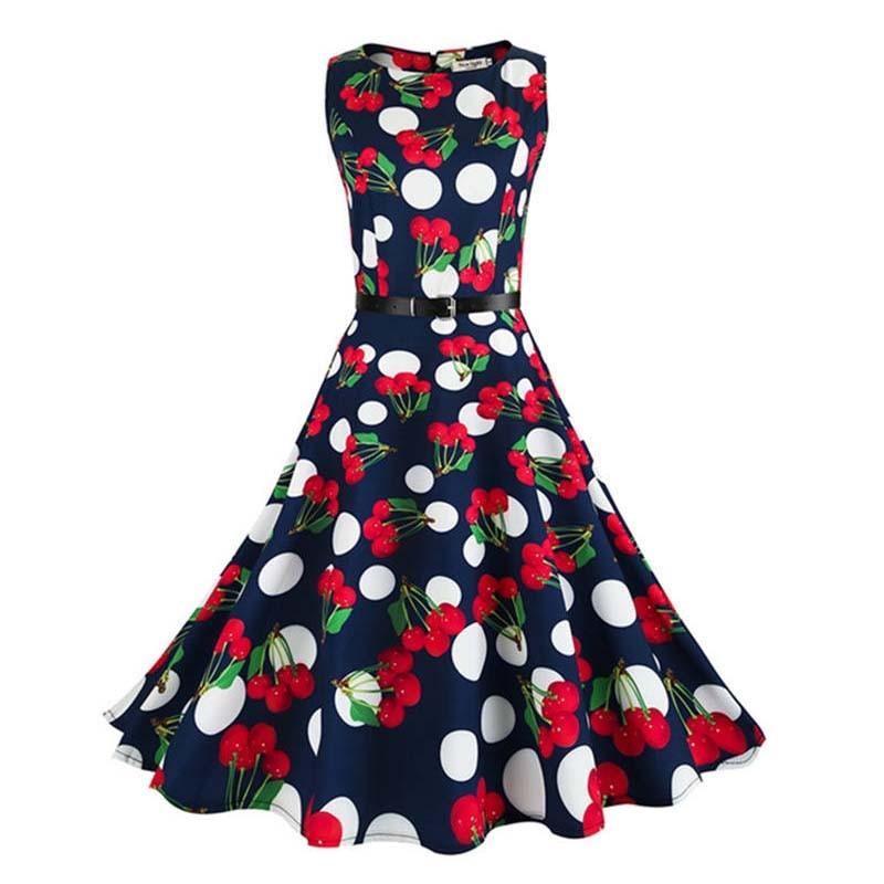 Ženy retro Hepburn styl strany dlouhé květinové šaty tisk štíhlé ženy letní šaty 2017 Bodycon Office roztomilé šaty pro ženy