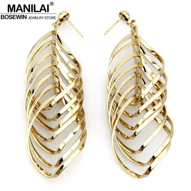 MANILAI Latest Golden Silver Color Geometry Earrings Women 2017 Brincos  Pendientes Indian Dangle Earrings Fashion Jewelry