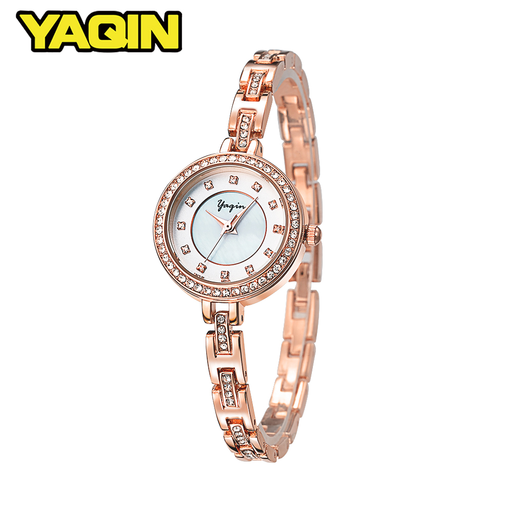 цены YAQIN 2018 Women Rhinestone Quartz Watches Luxury Brand Bracelet Wristwatch Ladies Diamond Crystal Fashion Relogio feminino