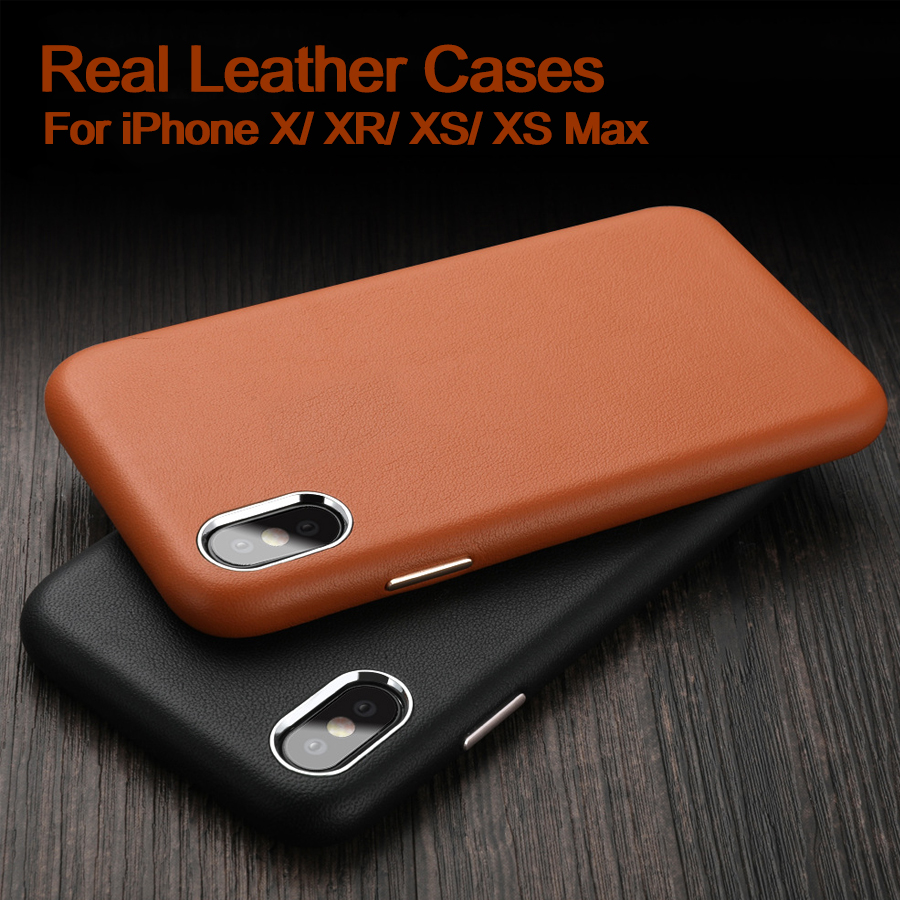 Luxury Real Leather Case For iPhone X XR XS Max Flip Cover Business Phone Cases For iPhone XS Max XR X Cover Black Red Brown