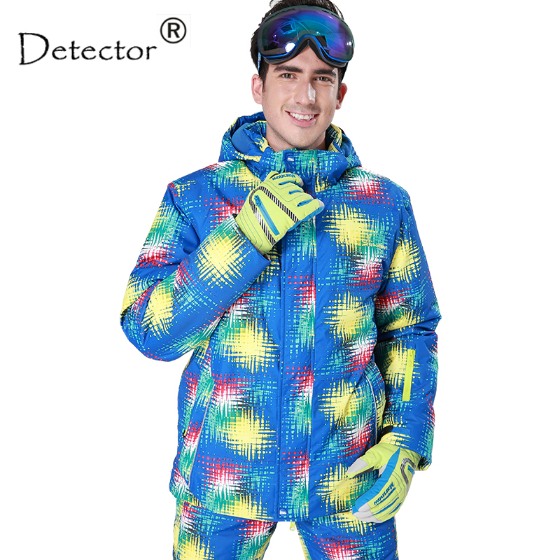 ФОТО Detector men's ski jacket Blue print winter outdoor ski suit Height waterproof,breathable ski jacket warm snowboard jacket