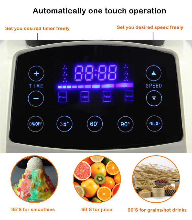 Tela sensível ao toque Digital Automático Inteligente Temporizador 3HP BPA LIVRE 2L profissional smoothies misturador juicer liquidificador processador de alimentos frutas