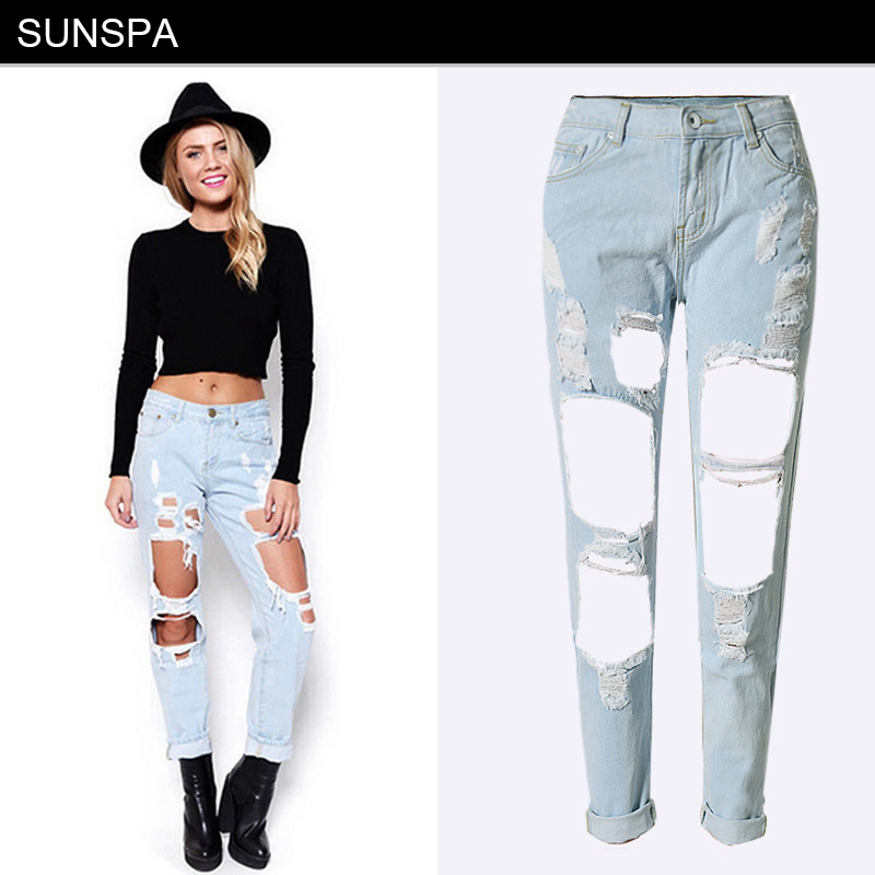 Women's Clothing Bottoms 2017 Summer Skinny Hole Ripped Jeans Woman Blue Denim Vintage Straight Casual Jeans Feminino Mid Waist Pants Femme Mujer Female