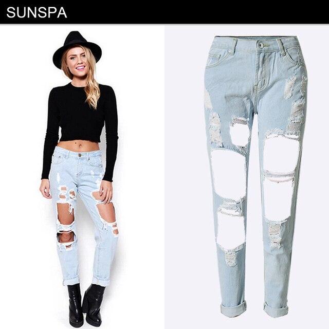 SUNSPA Vêtements Petit Ami trou déchiré jeans femmes pantalon Cool denim  vintage droite jeans pour fille 54edc30c9bd