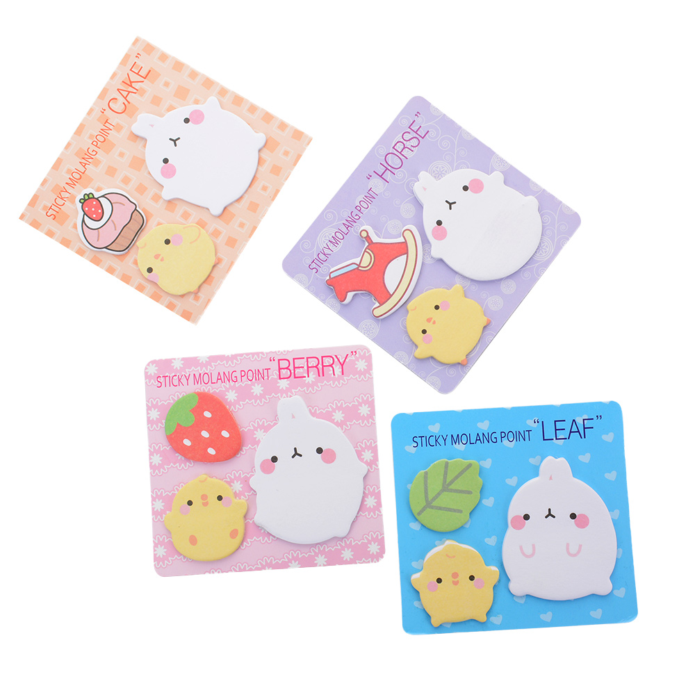 2 Pcs Cartoon Rabbit Sticky Notes Creative Post Notepad Filofax Memo Pads Office Supplies School Stationery Gift For Kids