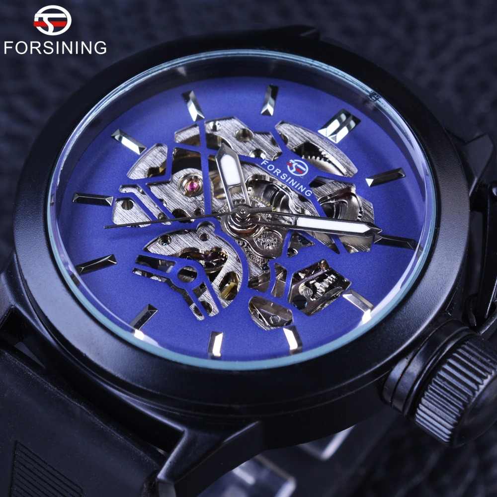 Forsining Blue Skeleton Dial Rubber Band Mens Sport Design Safety Crown Mens Watch Top Brand Luxury Black Mechanical Wrist Watch white ceramics band design mens leisure watch
