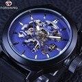 Forsining azul esqueleto dial rubber band mens esporte segurança projeto coroa mens relógio marca de topo de luxo preto relógio de pulso mecânico