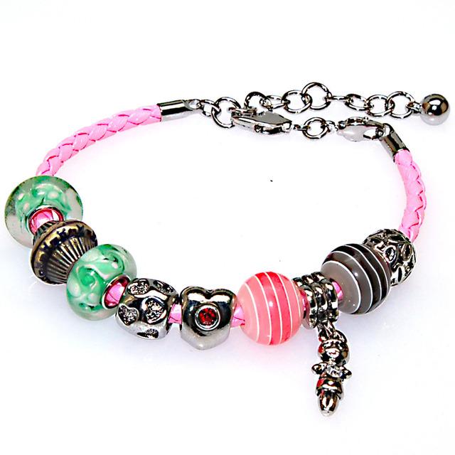 Moda charme europeu bracelet, Intercambiáveis diy pulseiras com grandes contas buraco, Cristal charme pulseiras 50782