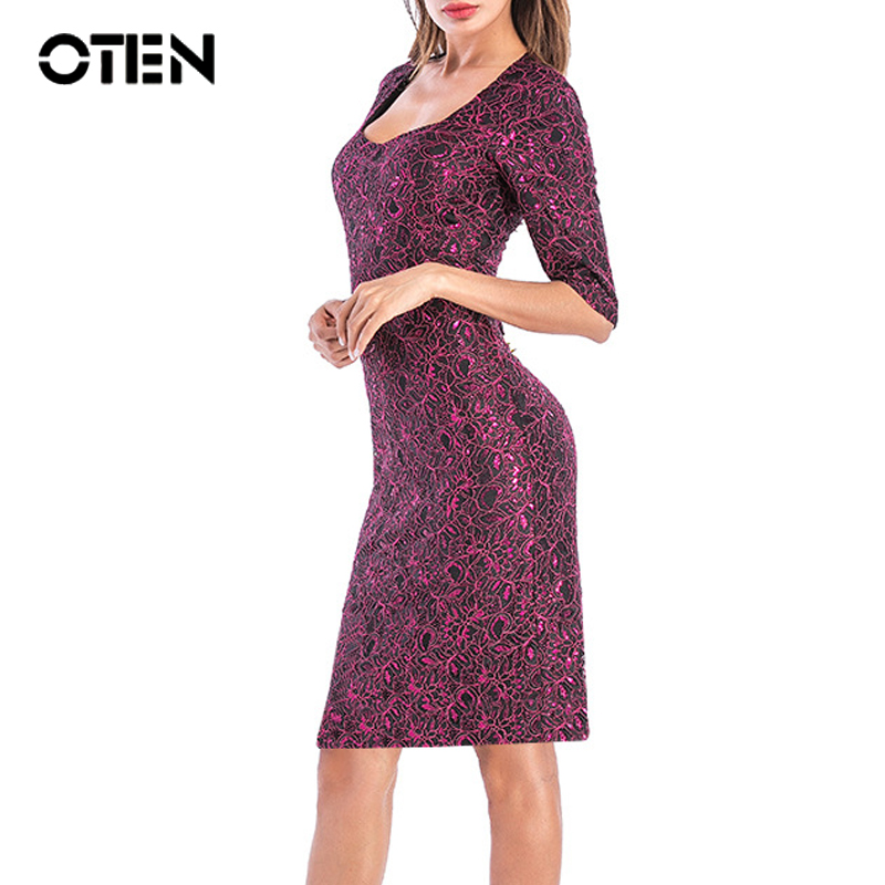 OTEN Women Office Dresses Elegant Ladies Half Sleeve Lace Sheath Business Career Party Knee Length Pencil Dress Robe Crayon 2019