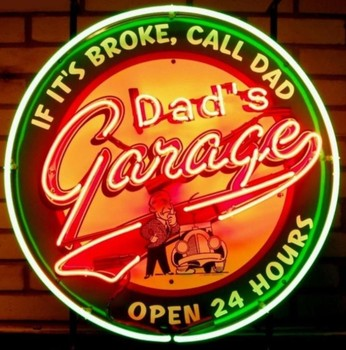 Custom Dad's garage Glass Neon Light Sign Beer Bar