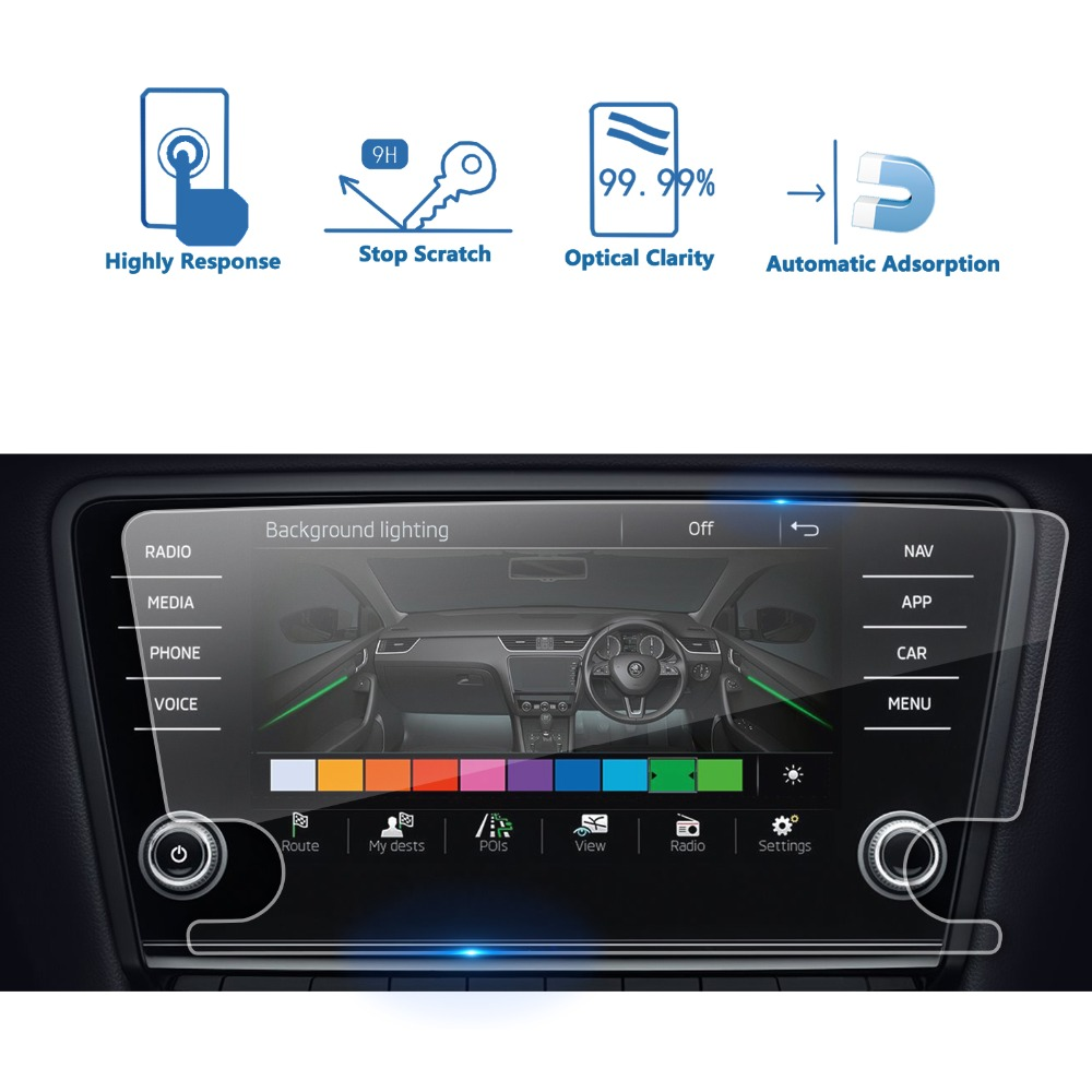 RUIYA screen protector for Skoda infotainment system Amundsen Octavia 8inch car navigation screen 9H tempered glass