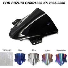 цена на Black Motorcycle Motorbike Windshield For Suzuki GSXR1000 GSXR 1000 K5 2005 2005-2006 Double Bubble Windscreen Wind Deflectors