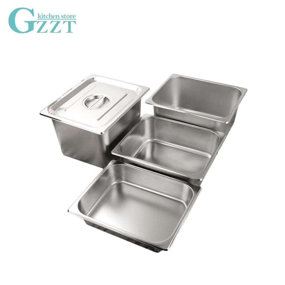6 шт./компл. шведского стола GN посуда нержавеющая сталь 1/2 противень гастрономический с Крышка для кастрюли Американский Стиль 0,6 мм плотный