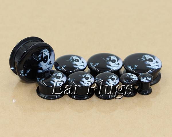 20pcs/set the day of dead lady ear plug gauges tunnel acrylic screw flesh tunnel body piercing jewelry TAP0536