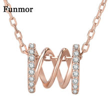 Funmor New Hollow Out Necklace 925 Sterling Silver Fine Jewelry Cubic Zircon For Women Men Routine Banquet Accessories Ornaments