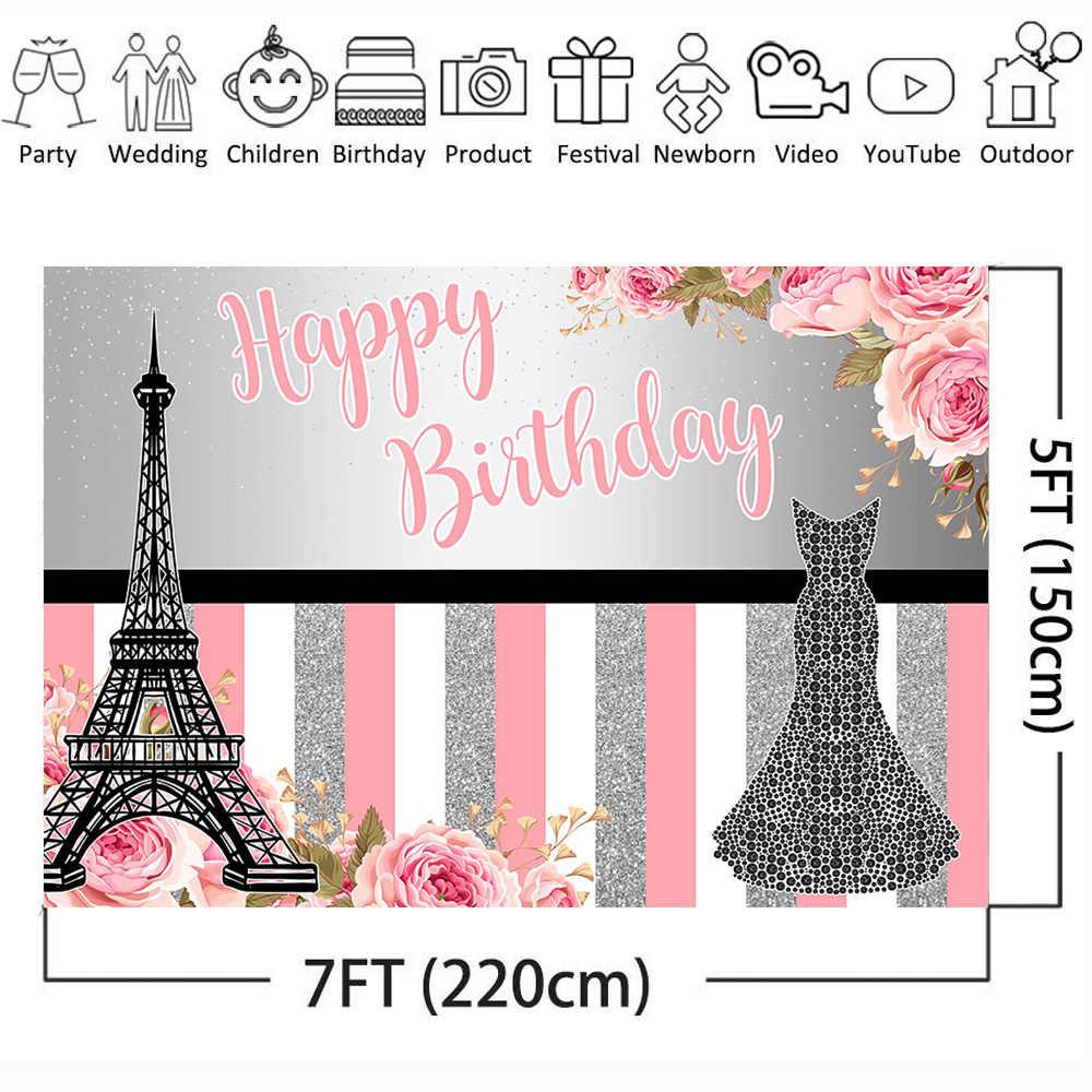 Mehofoto Happy Birthday Photography Backdrops for Lady Dress Eiffel Tower Flower Birthday Party Background Shiny Photo Shoot